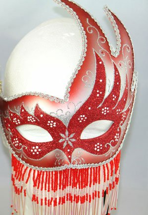 Venetian Mask Red Beaded Party Mask Mardi Gras Mask