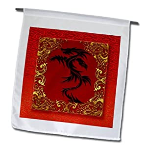 3dRose fl_101857_1 Chinese Zodiac Year of The Dragon Chinese New Year Red Gold and Black Garden Flag, 12 by 18-Inch