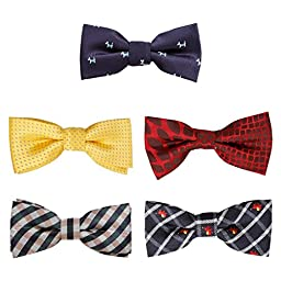 Bundle Monster 5 pc Boys Mixed Pattern Adjustable Elastic Pre-Tied Bow Tie Fashion Accessories - Set 4