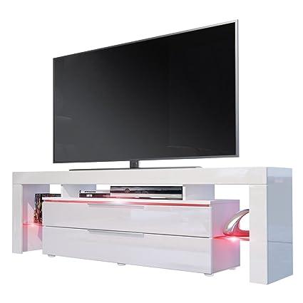TV Board Lowboard Lima Nova, Korpus in Weiß matt / Front in Weiß Hochglanz