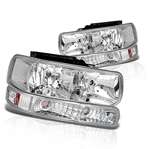 Instyleparts Chevy Silverado Clear Lens Headlights Bumper Light Set with Chrome Housing (99 Chevy 1500 Headlights compare prices)