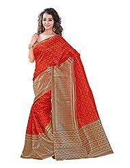 7 Colors Lifestyle Orange & Beige Coloured Bhagalpuri Embroidered Saree