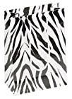 10 pcs Large Zebra Glossy Shopping Paper Gift Sales Tote Bags with Blank Message Tag 7.75 x 4 x 9.75