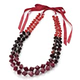 Toned Bead Ribbon Tie Fashion Necklace Red