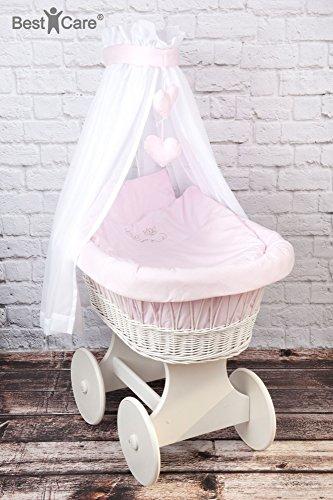 BestCare® - Culla con ruote bianca con materasso AloeVera d'alta qualità - arredo completo ben pensato per un sonno sano e sicuro ed un comfort ottimale, Modello:Rosa - grandi ruote