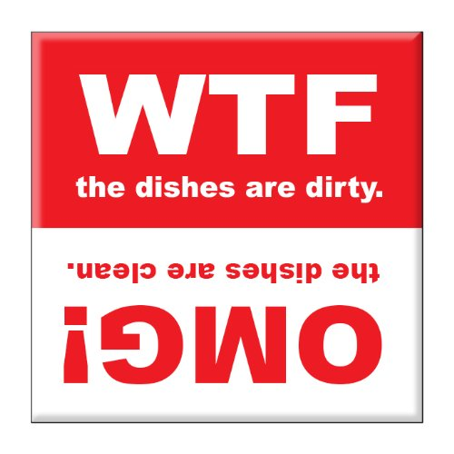 """Clean Dishwasher Magnet 2.5"""" X 2.5"""" Inches Wtf And Omg front-572520"""