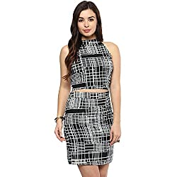 STYLEBAY Women Black Crepe Crop Top & Skirt Set (CSCS001, Medium)