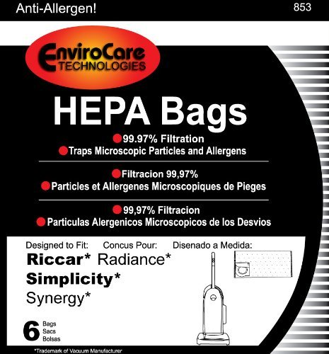 Riccar Radiance HEPA Vacuum Cleaner Bags, 6 Bags per Package (Riccar Filters compare prices)