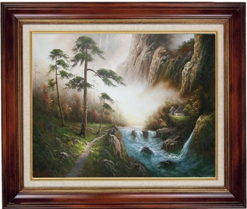 Yosemite Home Decor 31 by 27-Inch Huangshan River and Mountains Framed Hand Painted Traditional Oil Artwork, Scenic Places