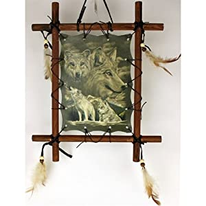 Framed Indian WOLVES Picture Native American Art 9 x 11 (including frame) WOLF Reproduction