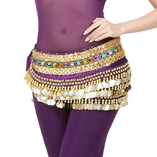 AveryDance Belly Dance 248 Coins Rhinestone Hip Scarf Egyptian Jewelry