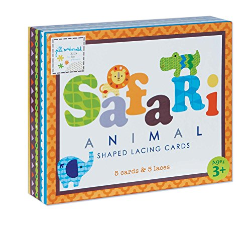 C.R. Gibson Safari Animals Lacing Cards Set By Jill Mcdonald Kids front-1027869