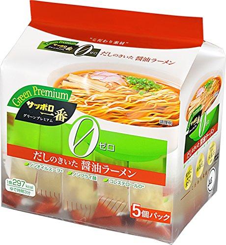 サッポロ一番 グリーンプレミアム 0(ゼロ) 醤油ラーメン 5個パック 510g×6袋