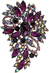 EVER FAITH Vintage Inspired Flower Teardrop Purple Austrian Crystal Bouquet Brooch Pendant