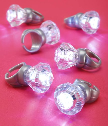 Darice VL2769, Just for the Girls LED -Light Emitting Diode, Engagement Ring 1.75, 6 Piece, Silver