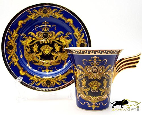 Amazing Porcelain Set of 12 Gold & Blue Teaware Espresso Cups 5 oz & Saucers, Greek Pattern Medusa Design Gold-plated Ornament Pattern Fine China Japan