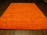 Large Modern Keops Shaggy Luxury Thick Pile Rug 120x160cm (App 6x4) Orange by OrientalRugCompany