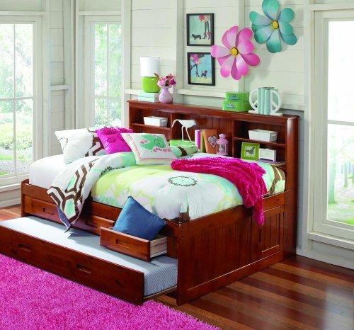MERLOT FULL CAPTAIN BOOKCASE DAYBED WITH 3 DRAWERS STORAGE/TRUNDLE UNIT (Full Size Trundle Bed compare prices)