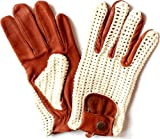 New Tan Leather Driving Gloves With Classic String Back