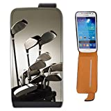 Golf Clubs in Golf Bag Ready to Play Leather Flip Case Cover for Samsung Galaxy S4 Mini i9190