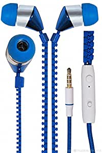 New Designed Zipper Style In Ear Bud Earphones Headset Compatible For Millennium M7 -Blue