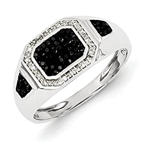 Sterling Silver Rhodium Plated Black and White Diamond Men's Ring Size 10