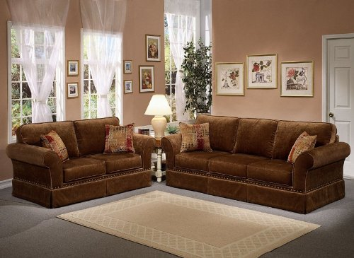 Buy Low Price Benchley 2pc Sofa Loveseat Set with Nail Head Trim and Pleated Skirt Design in Godiva Color (VF_BCL-MARYLAND)