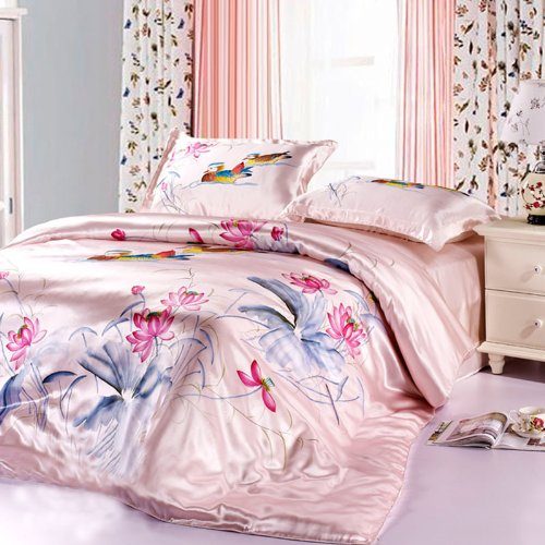 YYfashion 4-piece 100% Pure Natural Silk Bedding quilt 200x230cm bed sheet 230x250cm Pillowcase 48x74 + 5 cm for full queen bed Floral Design Pink