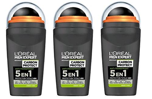 L'Oréal Men Expert Carbon Protezione 5 in 1 verde Tonic sfera uomo Deodorante senza alcool - Confezione da 3