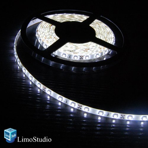 Limostudio 16.4Ft, 5M(200Inch) Smd 3528 White Color Led Flexible 300 Strip Light With 3M Tape, Agg1037