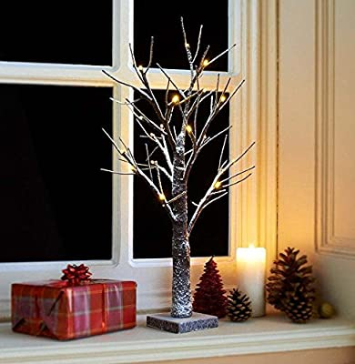 Snowy Light-up Twig Tree 70cm/2ft Brown/white Christmas Pre-lit Table Top Led Lights Winter Snow