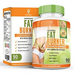 Thermogenic Fat Burner Pills That Work Fast for Women & Men, Best Natural Supplement for Weight Loss and Lose Belly Fat, With Raspberry Ketones to Slim & Boost Metabolism, 90 Capsules
