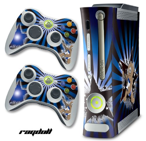XBOX 360 Console Rock Doll Blue Design Decal Skin - System & Remote Controllers - Ragdoll Blue