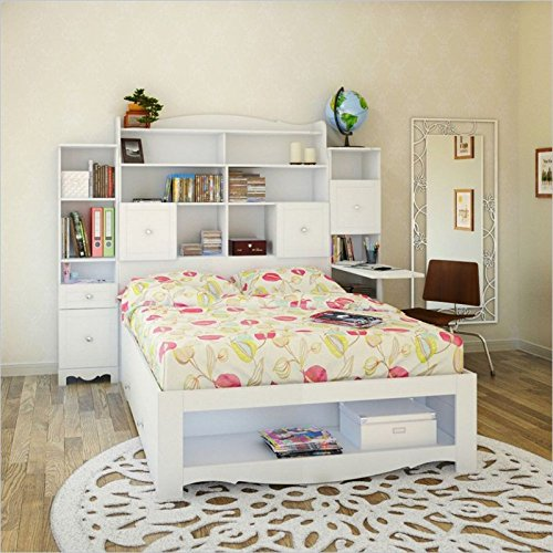 Nexera Pixel 4 Piece Full Bedroom Set in White with Bookcase Desk