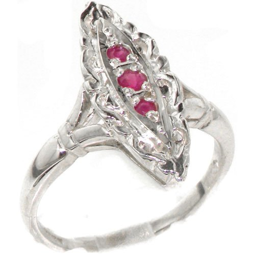 Rare Vintage Design Solid Sterling Silver Natural Ruby Ring with English Hallmarks - Size 11.75 - Finger Sizes 4 to 12 Available - Suitable as an Anniversary ring, Engagement ring, Eternity Ring, or Promise ring