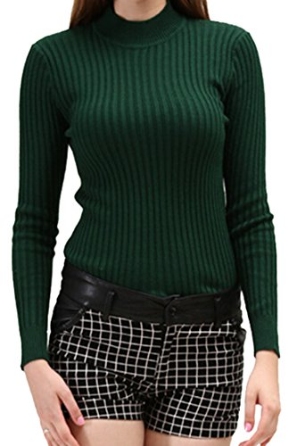 Viottis Women's Turtleneck Stretchy Pullover Knitted Sweater Dark Green 2XL