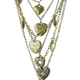 DaisyJewel Multi-Chain Bouquet of Heart Pendants and Heart Locket Necklace