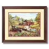 Old Church Mill Bridge Country Home Decor Wall Picture Cherry Framed Art Print