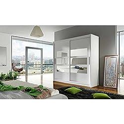 JUSThome Toledo Schwebetürenschrank Kleiderschrank Garderobenschrank (HxBxT): 215x180x58 cm Farbe: Weiß