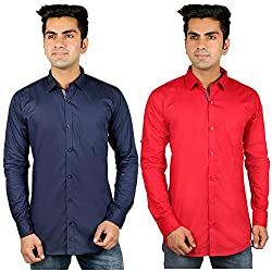 Nimegh Blue, Red Color Cotton Casual Slim fit Shirt For men's (Pack of 2)