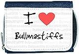 I Love Heart Bullmastiffs Denim Wallet