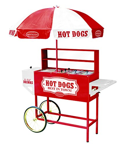 Nostalgia HDC701 48-Inch Tall Vintage Collection Hot Dog Vending Cart with Umbrella (Hot Dog Cart Umbrella compare prices)