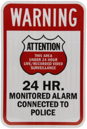 "Smartsign 3M High Intensity Grade Reflective Sign, Legend ""Warning: Attention 24 Hr. Monitored Alarm"", 18"" High X 12"" Wide, Black/Red On White"