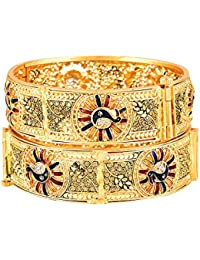 Zeneme Ethnic & Exquisite Designer Gold Plated Copper Jewellery Bangle For Women And Girls