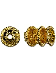 Cousin Gold Elegance 14K Gold Plate Filigree Bead Cap, 3-Piece, 8mm