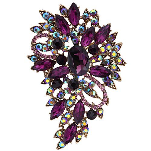 EVER FAITH® Vintage Inspired Flower Teardrop Purple Austrian Crystal Bouquet Brooch Pendant 0