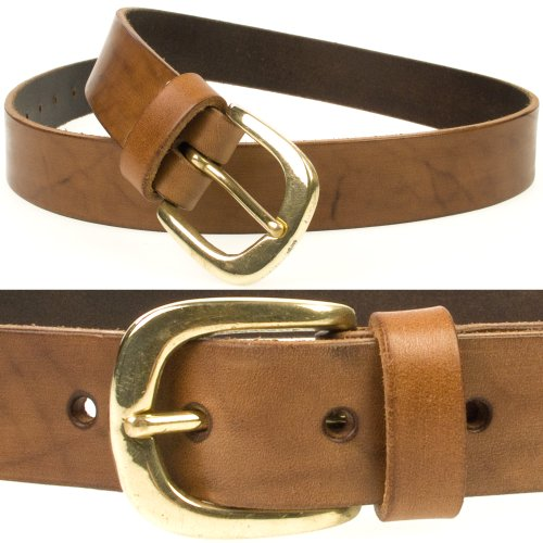 Mens Quality Brown Retro Vintage Look Leather Belt Made in UK