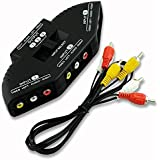 FOXMICRO 3-Way Audio Video AV RCA Black Switch Selector Box Splitter With 3 Color RCA Cable For XBOX XBOX360 DVD PS2 PS3 With AV Cable(COLOR MAY VERY )-FM