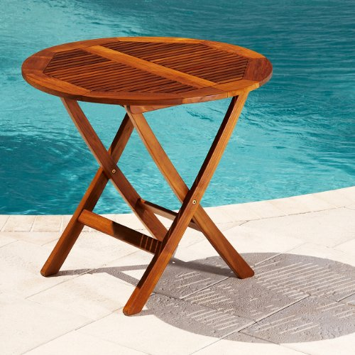 "Teak Folding Dining Table (Teak Honey Brown Oiled Shine) (28.4""H x 31.5""W x 31.5""D)"