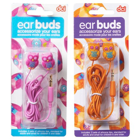 Hoot Owl Earbuds Head Phones -Pumpkin